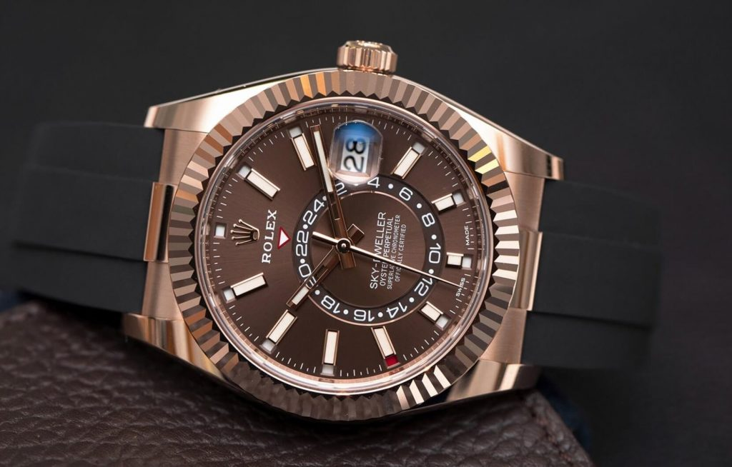 Knock Off Rolex Sky-Dweller 326235 Everose gold chocolate dial Oysterflex bracelet