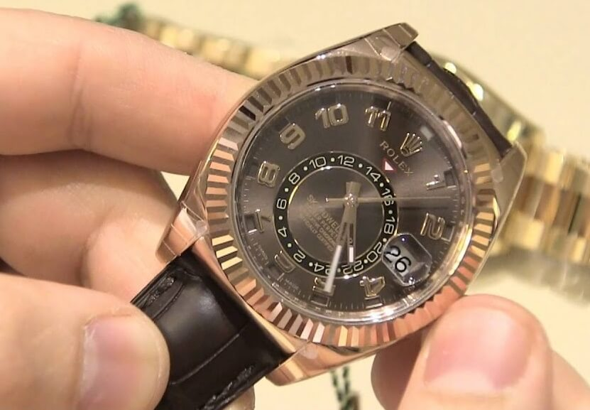 Knock Off Rolex Sky-Dweller 326935 Everose gold chocolate dial brown leather strap