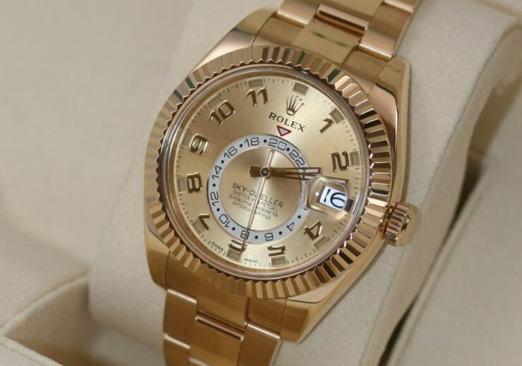 Knock Off Rolex Sky-Dweller 326938 yellow gold champagne dial yellow gold Oyster bracelet