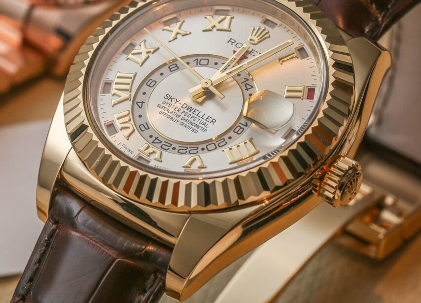 Knock Off Rolex Sky-Dweller 326938 yellow gold silver dial brown alligator strap