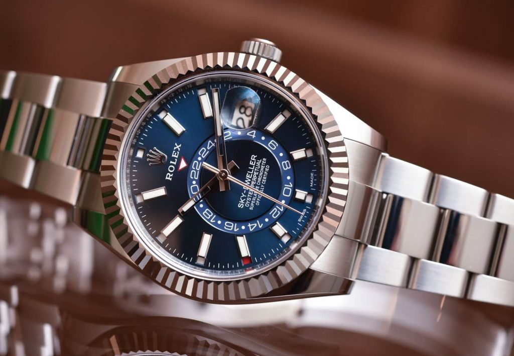 Knock Off Rolex Sky-Dweller Rolesor 326934 in steel and 18k white gold blue dial