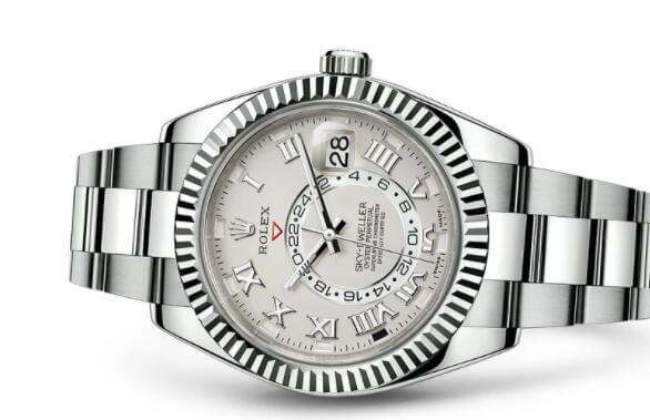 knock off Rolex Sky-Dweller 326939 White Gold Silver Dial Oyster Strap